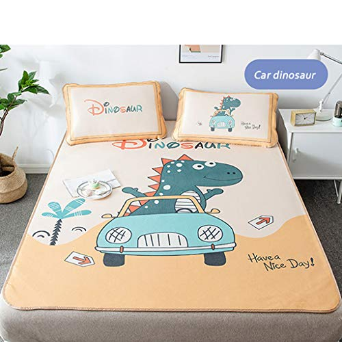 CPPI-1 Ice Silk Air Conditioning Mat, Summer Cooling Mat, Car Dinosaur Beige Green, with Pillowcase Foldable Folding, Contains 1 Pillowcase, Ice Silk Cover Machine Washable,