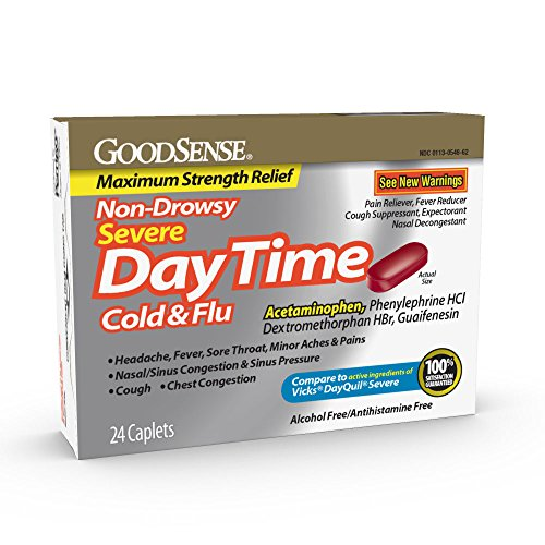 GoodSense Daytime Cold and Flu Relief Caplets, 24 Count