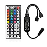 GOOLOOK 44 Keys Wireless RF RGB LED Lights Strip Remote Controller Box Replacement, for 4pin 5050 RGB Strip Light 12V DC Support Adapter Power Supply Max 72W (RF Controller)