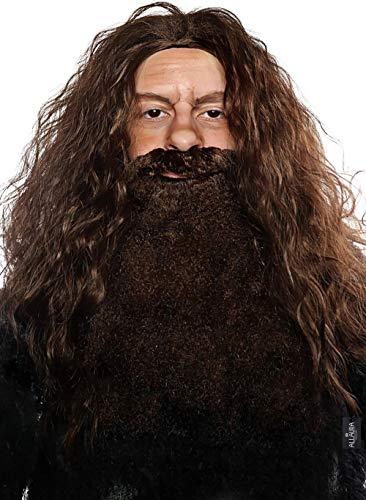 Wizard Brown Wig and Beard Costume Set - Viking Costumes Wigs - Fake Beard Mustache Fits Adult Men Kids Hair