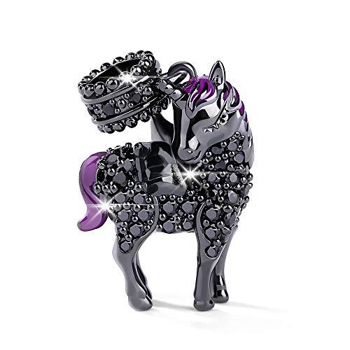 Gnoce Unicornio plateado Negro Abalorio Charms De Mujer Plata de Ley 925'Alma y Espiritu Divino' Charm Colgante Compatible con Pulsera o Collar