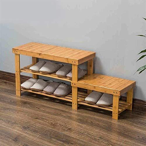 BLLXMX Rack da Scarpe Scarpiera 2 Livello Shoe Rack, 2 Ripiani di bambù for Ripiani for Scarpe da scrivania in 100% di bambù Naturale (Dimensioni: 108 * 28 * 44 cm) .Shoebox.