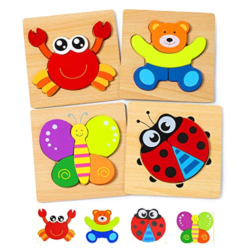 WolinTek Puzzles de Madera Educativos para Bebé, Juguetes Bebes,Juguetes niños 1 año 2 3 4 años, Dibujo de Animal Colorido con Placa, Regalo de cumpleaños, para Bebé niños (B)