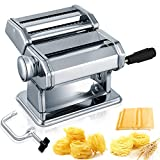 Pasta Maker, 150 Roller Manual Noodles Makers with 7 Adjustable Thickness Setting, 2 in 1 Dough Stainless Cutter, Clamp, and Hand Crank, Perfect for Homemade Spaghetti Lasagna or Dumpling Skins