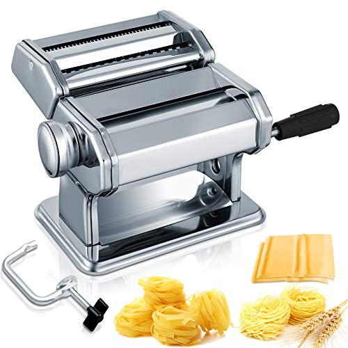 Pasta Machine, Sailnovo 150 Roller Manual Pasta Maker with 7 Adjustable Thickness Setting, 2 Size Stainless Cutter, Clamp, and Hand Crank, Perfect for Homemade Spaghetti Lasagna or Dumpling Skins