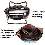 S-ZONE Damen 3-Way Schultertasche Vintage Echtleder Shopper Große Mode Laptop Arbeitstasche Umhängetasche Handtasche Messenger Bag - 5