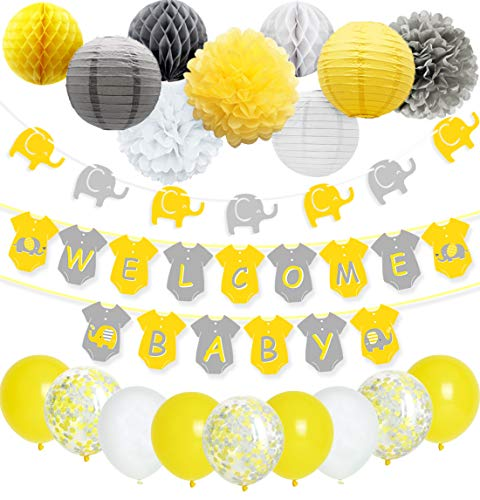 Yellow Grey Elephant Baby Shower Decorations Neutral for Boy or Girl, Welcome Baby Banner Elephant Garland Confetti Balloons for Gender Neutral Baby Decor