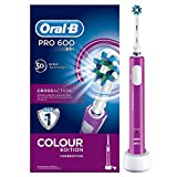 Oral-B PRO 600 CrossAction Cepillo de Dientes Eléctrico Recargable con Tecnología Braun, Edición Purple
