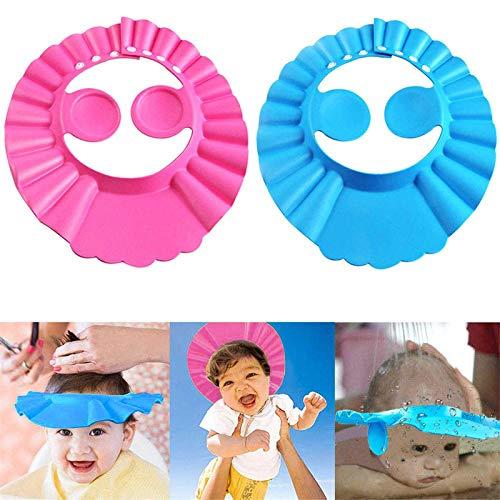 Gorro de ducha para bebé de 2 piezas, gorro de baño para niños de 3 colores, ajustable y con protección para los oídos