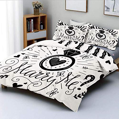 Set copripiumino, tema occidentale, citazione Will You Marry Me con immagine di cuori Set di biancheria da letto decorativo 3 pezzi con 2 fodere per cuscini, bianco e nero, miglior regalo per bambini