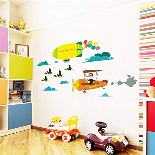 Wlyue DIY muurstickers, kleurrijk, vliegtuig, ballon, muurstickers, voor kinderkamer, kinderkamer, kinderkamer, decoratie kinderkamer, raam kinderen, thuis, decoupage-tattoos