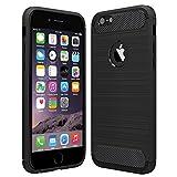 Anjoo Kompatibel für iPhone 6/6s Hülle, Carbon Fiber Texture-Inner Shock Resistant-Weich & Flexibel TPU Cover Case für iPhone 6 iPhone 6s, Schwarz