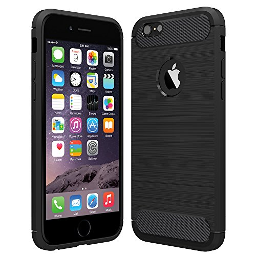 Anjoo Kompatibel für iPhone 6/6s Hülle, Carbon Fiber Texture-Inner Shock Resistant-Weich und Flexibel TPU Cover Case für iPhone 6 iPhone 6s, Schwarz
