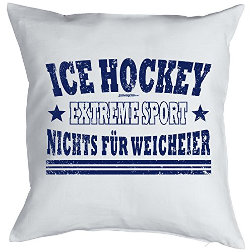 Ice Hockey Sprüche Kissen - Deko Ice Hockey : Ice Hockey Extreme Sport -- Kissen mit Füllung -- Farbe: weiss
