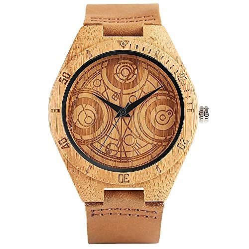HYLX Madera Creativa, Reloj Grabado Doctor Who Dial Cuero Genuino de bambú Hecho a Mano, Pulsera de Reloj de Pulsera de bambú