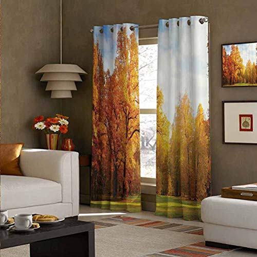 Farm House Decor Collection Polyester Modern Decorative Drapes Thermal Insulated, Noise Reducing Colorful Forest Sun Shining Through Trees Autumn Landscape Picture Mustard Green Blue 52' W x 84' L