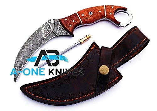 "Walnut Woods 8.75'' Fixed Blade Custom Handmade Damascus Steel Karambit Hunting Knife 100% Prime Quality Plus Best Quality Gift Blade Sharpener ""LIMITED OFFER"""