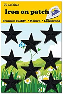Iron On Patches - Black star Patch 8 pcs Iron On Patch Embroidered Applique 1.57 x 1.57 inches (4.0x 4.0 cm) A-136