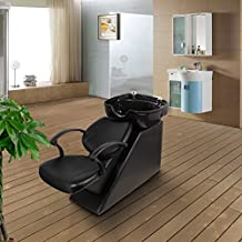 Esright Backwash Chair Salon Bowl Shampoo Equipment Sink Unit Double Drain Beauty Stylist Station (Basic)