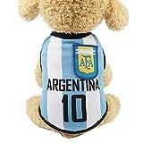 SungpunetPuppy Ropa Red de Fútbol Transpirable Camiseta Perro Ropa Nacional Fútbol Países Bajos Fútbol Ventiladores para Mascota Perro Gatos - Argentina (XS)