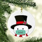 Nobrands Weihnachten 2020 Schneemann Ornament Corona Geschenk 2020 Schneemann mit Maske Weihnachten Weihnachten 2020 Pandemik Ornament Weihnachtskugel Weihnachtsbaum Dekoration