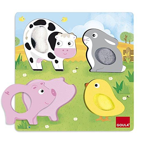 Goula- Puzzle Encajes Animales Tela 22x22, 22 x 22 cm (53055) , color/modelo surtido (Juguete)