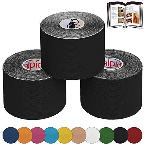 ALPIDEX 3 x Kinesiologie Tape 5 m x 5,0 cm E-Book Anwendungsbroschüre Elastisches Tape Set, Farbe:schwarz
