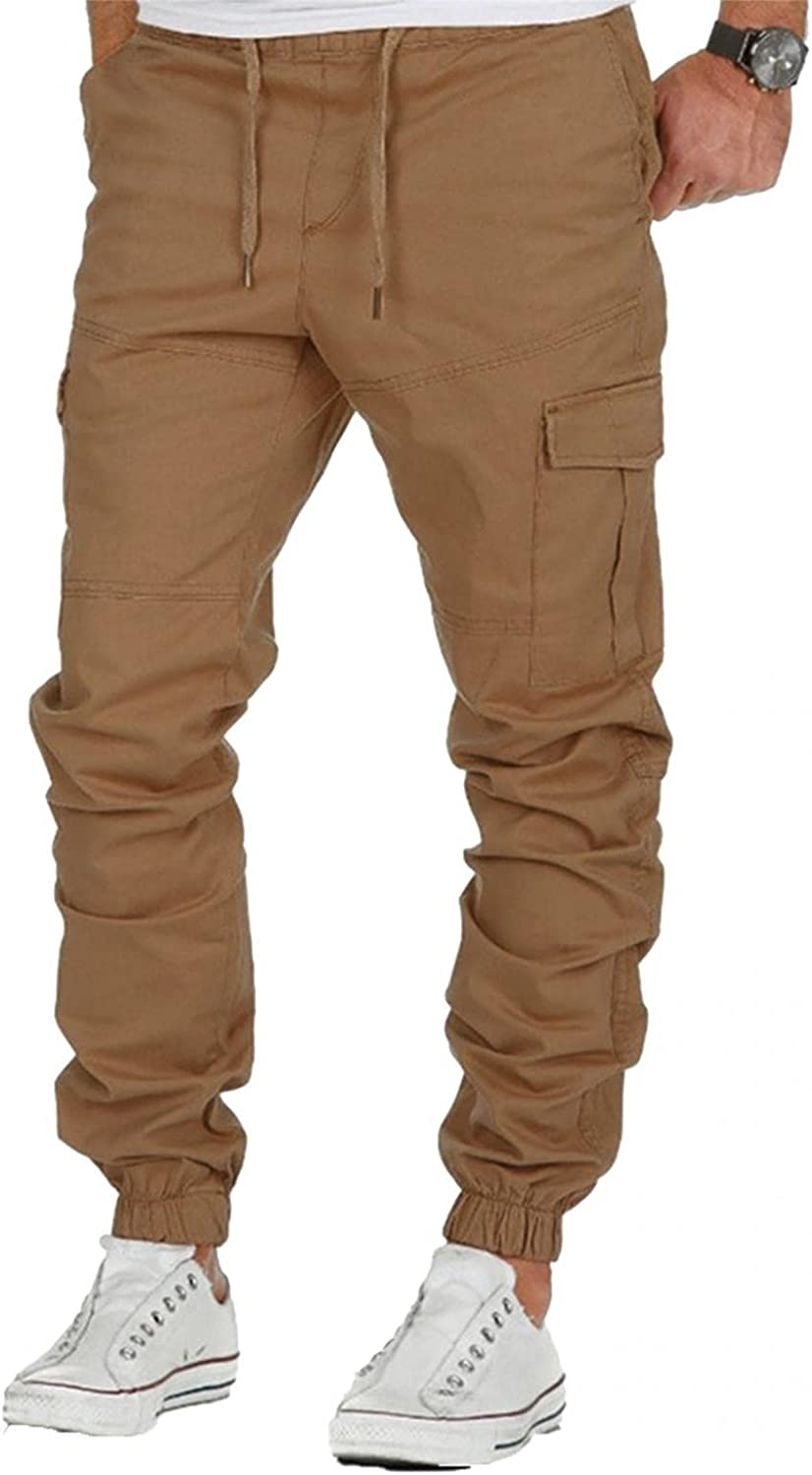 FUNEY Men's Chino Jogger Pants Casual Slim Athletic Workout Drawstring Multi-Pockets Tactical Outdoor Military Cargo Pants