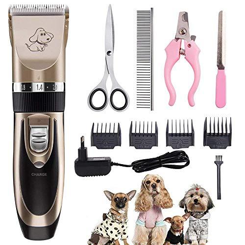 AODATU Hunde Schermaschine, High Power Elektrische Haarschneider Wird Nicht von Haaren Gefangen Werden, Wiederaufladbare Drahtlose Haustier Haarschneider Anzug, Geeignet für Pudel, Perser Katze, etc.