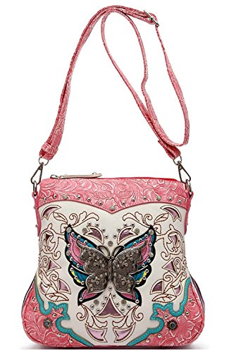 Western Style Butterfly Tooled Leather Women Purse Cross Body Handbag Concealed Carry Single Shoulder Bag (Fuchsia)