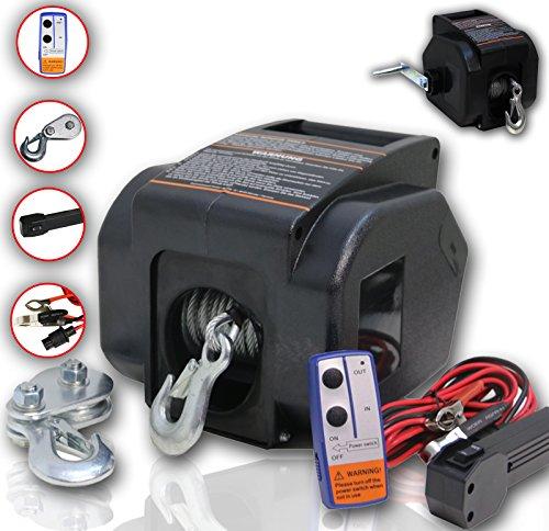DMS® 12V Elektrische Seilwinde 4990 KG Funk Motorwinde Bootswinde Winde Seilzug ESWB-01
