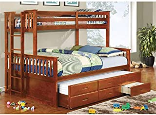 Furniture of America Frederick Twin Over Queen Bunk Bed with Trundle in Oak