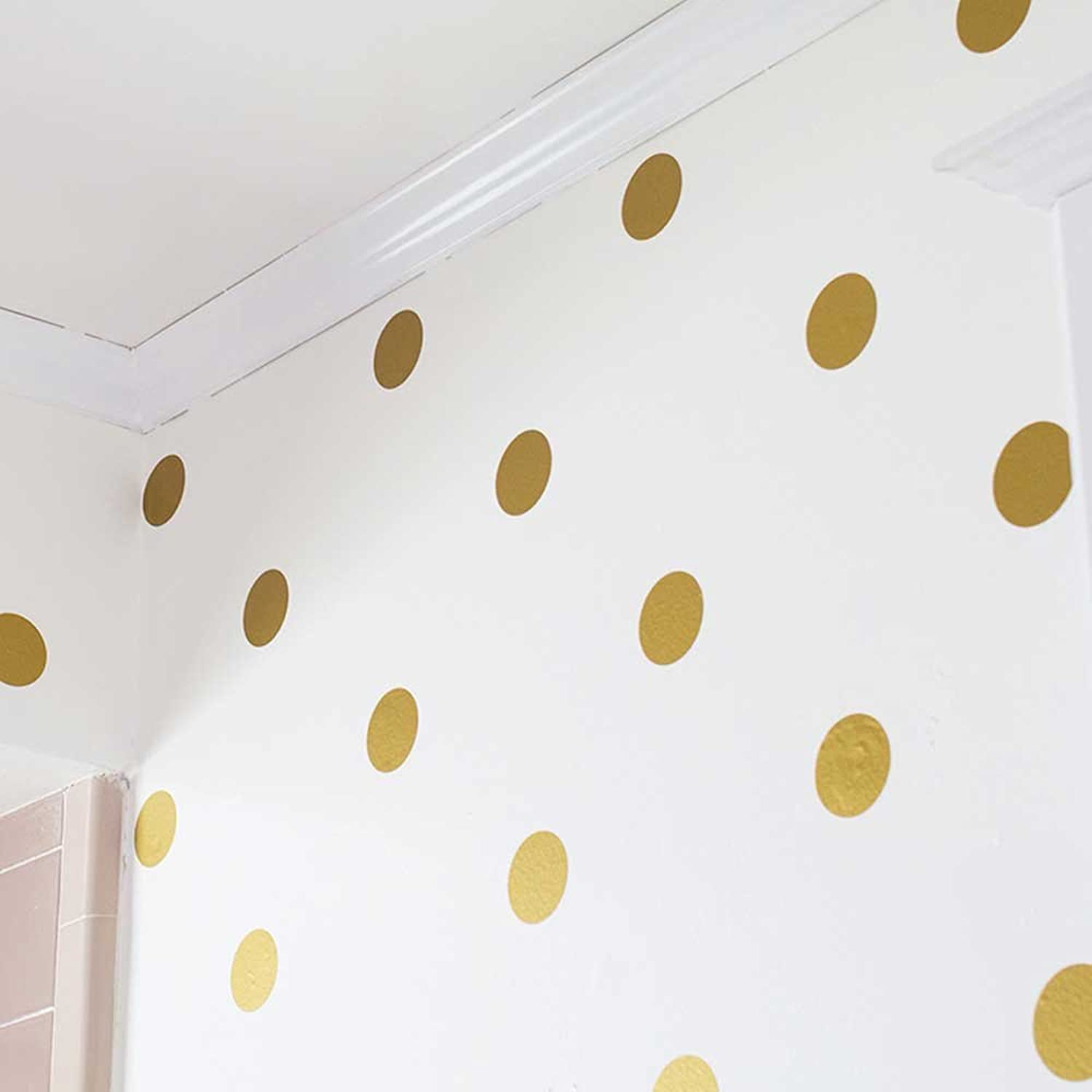 gold Polka Dots Wall Sticker   Baby Stickers   golden Polka Dots Wall Decals For Kids room (10cm wide x 20 dot stickers)