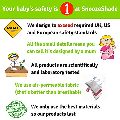 SnoozeShade Plus Deluxe | Universal fit sun shade for strollers | 360-degree sun and UV protection | Sleep shade and…