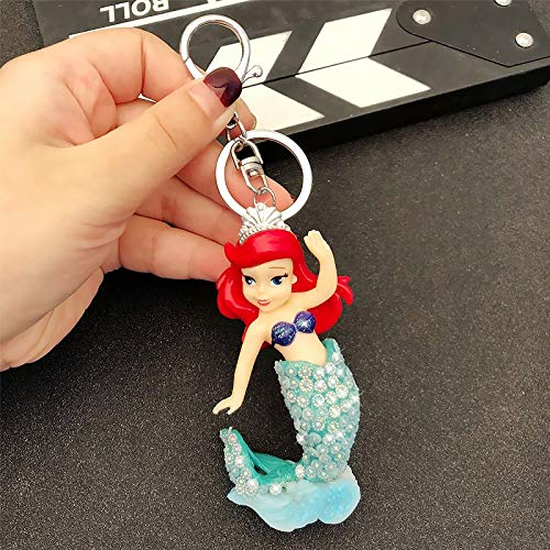 Keychain Princess Keychain Snow White Belle Cinderella Ariel Mermaid Tangled Rapunzel Sleeping Beauty Figure Toys Fou Girls Gift key ring (Color : 5, Size : Normal)