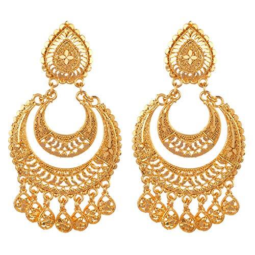 Efulgenz Indian Bollywood Gold Tone Tassel Dangle Chandbali Wedding Bridal Earring Set Jewelry