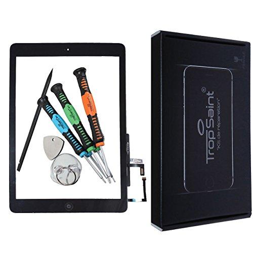 Trop Saint® Für iPad AIR 1 Touchscreen Digitizer Glas Display Scheibe in Schwarz mit Rahmen und Werkzeug (A1474, A1475, A1476)