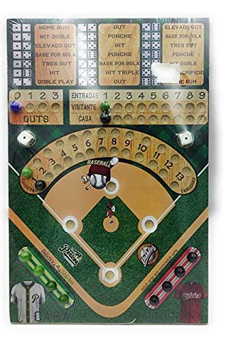 Beisbol Juego de Mesa Tabla de Madera con entretenido Juego de Dados y canicas