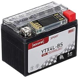 Accurat Batterie de moto YTX4L-BS 4Ah 50A 12V Technologie gel + Écran LCD Batterie de démarrage Performante Robuste…