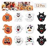 Toyvian Halloween Kürbis Bastelset für Kinder, Eva Schaum DIY Kürbis Dekorieren mit 12 Stück Gesichtsaufklebern, 24 Wackelaugen und 81 Stück...
