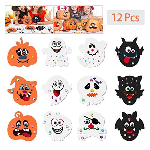 Toyvian Halloween Kürbis Bastelset für Kinder, Eva Schaum DIY Kürbis Dekorieren mit 12 Stück Gesichtsaufklebern, 24 Wackelaugen und 81 Stück Diamantaufklebern für Halloween Spiele