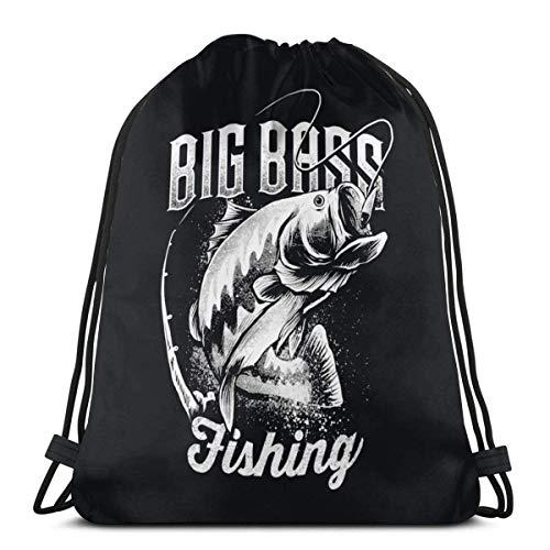 Big Bass Fishing Unisex Drawstring Backpack Bag Sport Gym Travel Sackpack 14.2 x 16.9 Inch/36 x 43cm