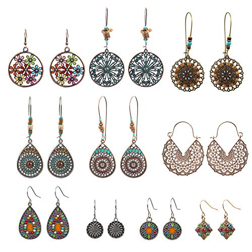 NEPAK 10 Pares de Pendientes Colgantes Bohemios de La Vendimia,Boho Cuelgan Los Pendientes,Big Circle Hook Earrings