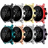 Screen Protector Case Compatible with Fossil Gen 5 Carlyle, Premium Soft TPU Slim Plated Protective Cover [Scratch-Proof] for Fossil Gen 5 Carlyle Smartwatch Band Accessories (8Colors)