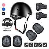 Wayin Child Bike Helmet Protective Kit for Children Child Helmet Helmet Knee Pads Elbow Pads Wrist Cushions Kid's Protective Gear Set for Skateboard Roller BMX Ice Skate (Black)
