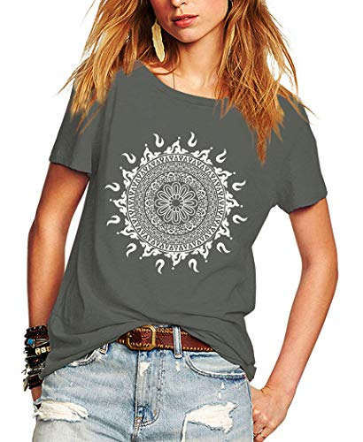 Romastory Womens Short Sleeve T-Shirts Fashion Print Relaxed Tops Tee Shirts (Gray, Large)