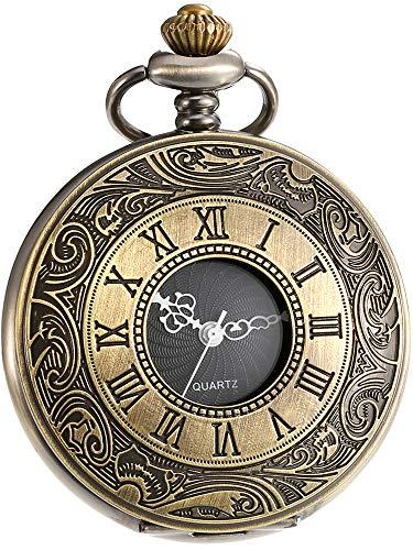 Reloj de Bolsillo de Cuarzo Escala Numeral Romano Vintage con Cadena (Bronce)