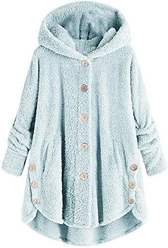 QIBIN Sudadera con capucha para mujer, abrigo de oveja pelud