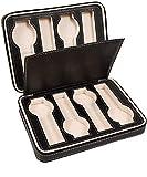 Caja de almacenamiento para relojes con 8 rejillas con cremallera, para hombres y mujeres, color negro (color: negro, tamaño: 24 x 18 x 6 cm)