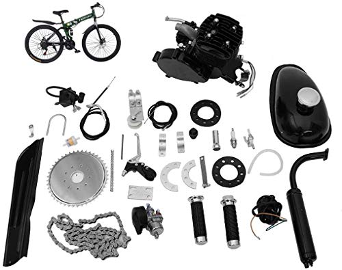 "Bicycle Motor KIT,Full Set 80CC Bicycle Engine KIT,2 Stroke Motorized Bike KIT,2-Stroke Petrol Engine Super Fuel-EFFICIENT Bike Engine KIT with 2L Oil Tank for 26"" 28"" Bike"